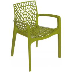 Chaise Design Verte Anis Avec Accoudoirs GRUYER
