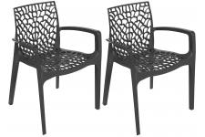 DeclikDeco - Lot De 2 Chaises Anthracites Avec Accoudoirs GRUYER - Chaise design et tabouret design