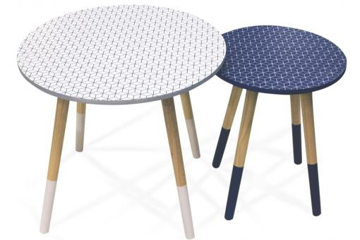 Lot De 2 Tables Gigognes Scandinaves Imprimé Blanc-Bleu D48 WOLF