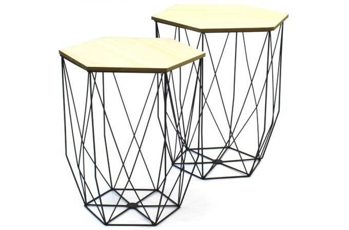 lot de 2 tables gigognes filaires noir boreal table basse pas cher. Black Bedroom Furniture Sets. Home Design Ideas
