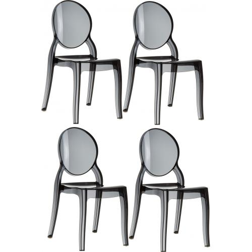 Lot de 4 chaises ELIZABETH Noir Transparent - Lot 4 chaises design