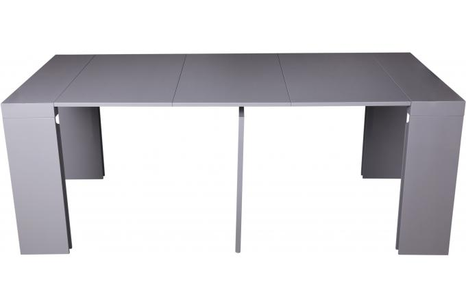 Console extensible grise 180cm laque boston table for Table console extensible grise