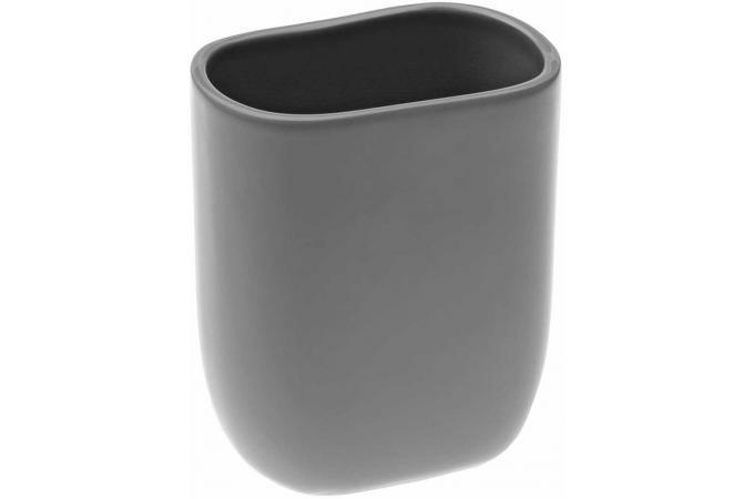 Kit distributeur savon et verre brosse dent en for Accessoire salle de bain gris