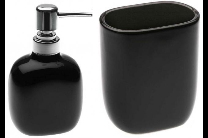 Kit Distributeur A Savon Et Verre A Brosse A Dent En Ceramique Noir
