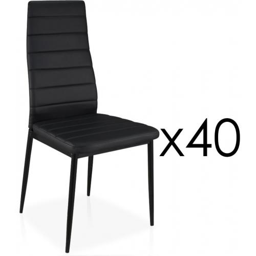 Lot de 40 Chaises Design Simili Cuir Noir HOUSTON - Salle a manger