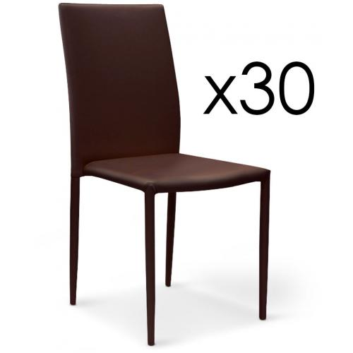 Lot de 30 Chaises Empilables Simili Marron SUVA - Salle a manger