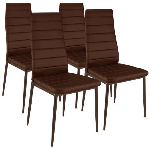 Lot de 4 Chaises Design simili Taupe HOUSTON - Lot 4 chaises design