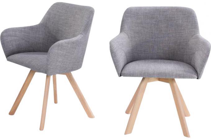 Lot de 2 fauteuils scandinave tissu gris reinu