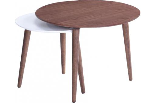 Table d'Appoint Noyer Et Blanc POOLER - Salon scandinave