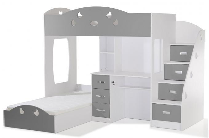 lit combin 2 couchages bureau blanc gris raphael lit enfant pas cher. Black Bedroom Furniture Sets. Home Design Ideas