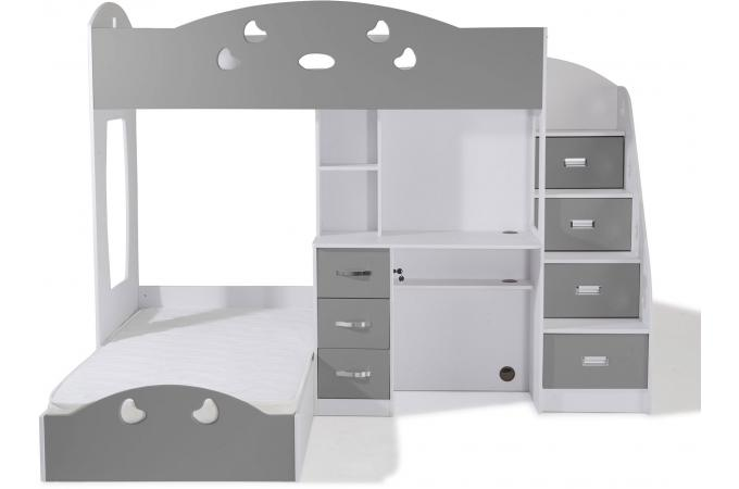 lit combin 2 couchages bureau blanc gris raphael lit enfant pas cher. Black Bedroom Furniture Sets. Home Design Ideas