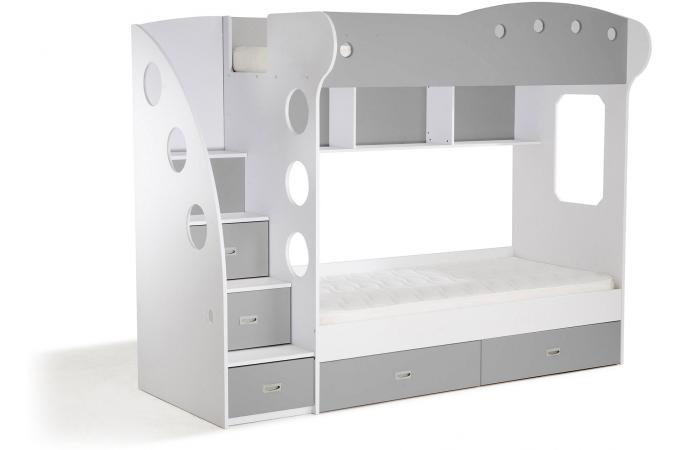 lit combin 2 couchages blanc gris raphael lit enfant. Black Bedroom Furniture Sets. Home Design Ideas