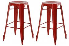 Lot de 2 Tabourets de Bar Industriels Métal Rouge KIRK - Tabouret de bar rouge design