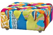 Pouf Carré Patchwork Multicolore BENITO - Pouf multicolore design