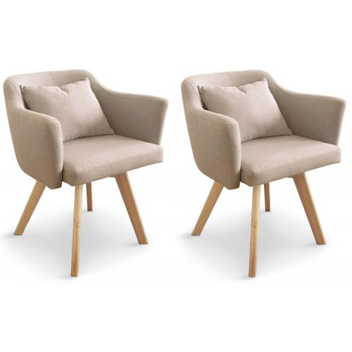 Lot de 2 Fauteuils Scandinaves Beiges LAYAL - 3s x home fauteuil
