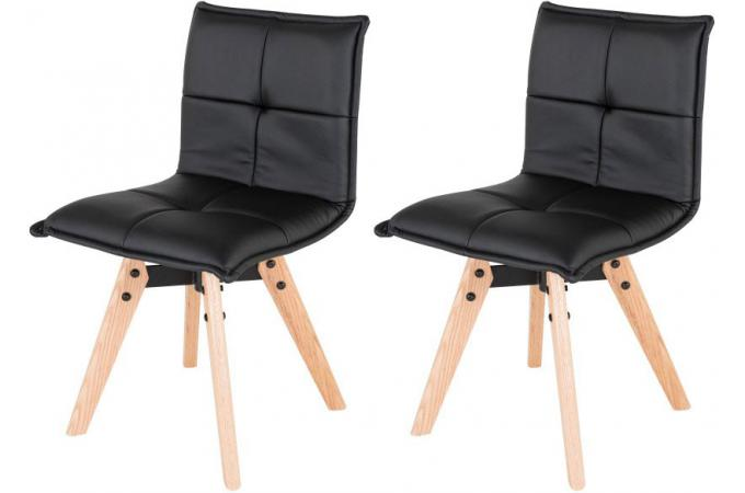 lot de 2 chaises scandinaves capitonn es noire amana. Black Bedroom Furniture Sets. Home Design Ideas