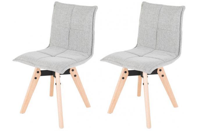 lot de 2 chaises scandinaves capitonn es en tissu grise dahola chaise design pas cher. Black Bedroom Furniture Sets. Home Design Ideas