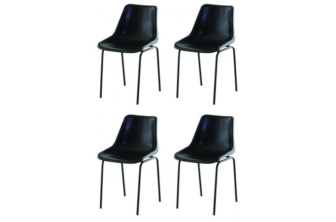 lot de 4 chaises design en cuir noir dali chaise design pas cher. Black Bedroom Furniture Sets. Home Design Ideas