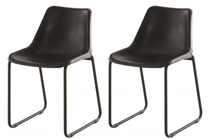 Lot de 2 chaises design en cuir noir senzi chaise design for Chaise design en cuir