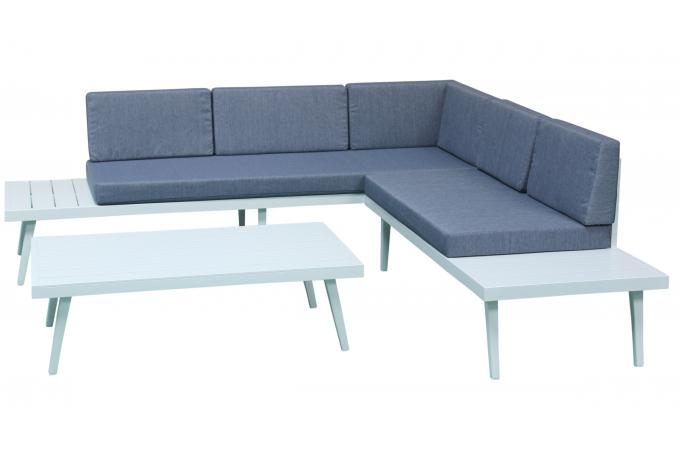 Salon de Jardin En Aluminium Blanc et Bleu ANASTASIA - Salon de ...