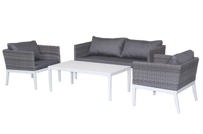 Salon de jardin en aluminium et r sine tress e gris lola for Salon jardin resine gris pas cher