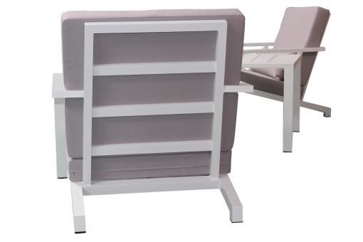 Salon de Jardin En Aluminium Blanc et Gris LINA Plus d\'infos
