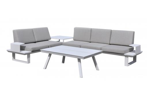salon de jardin en aluminium gris et blanc granada salon de jardin pas cher. Black Bedroom Furniture Sets. Home Design Ideas