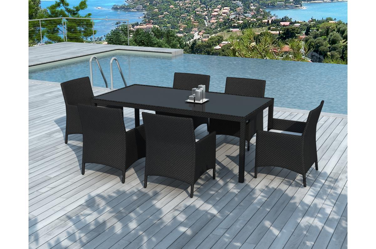 Table Repas Outdoor + 6 Fauteuils En Résine Tressée Noir ALIA Plus d\'infos