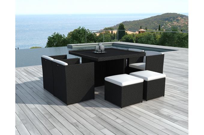 Table Repas Outdoor + 4 Fauteuils + 4 Poufs En Résine Tressée Marron ZAYA  Plus d\'infos