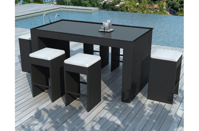 bar de jardin 6 tabourets de bar en r sine tress e noir aloha salon de jardin pas cher. Black Bedroom Furniture Sets. Home Design Ideas