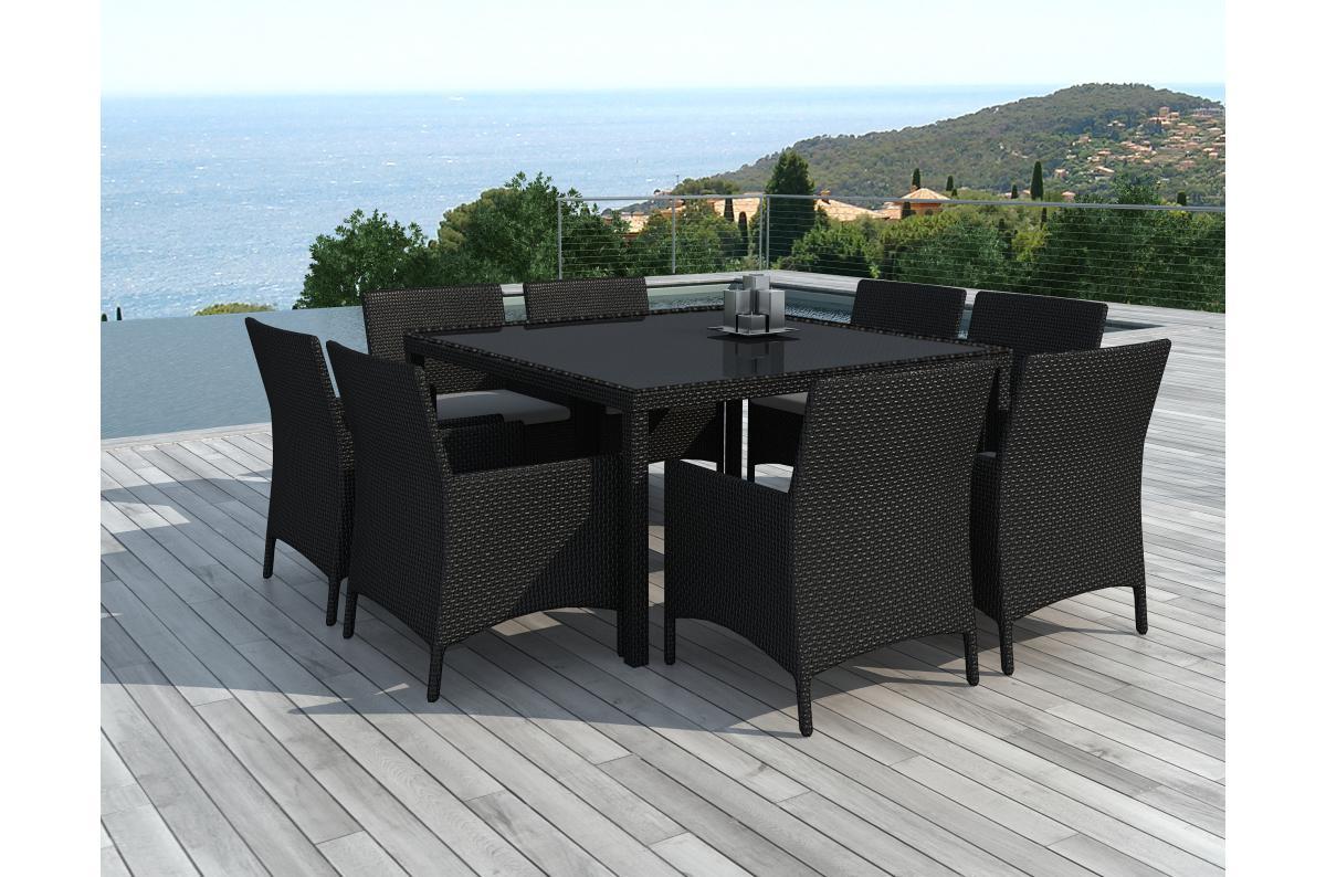 Salle A Manger De Jardin En Resine Tressee table repas outdoor + 8 fauteuils en résine tressée noir