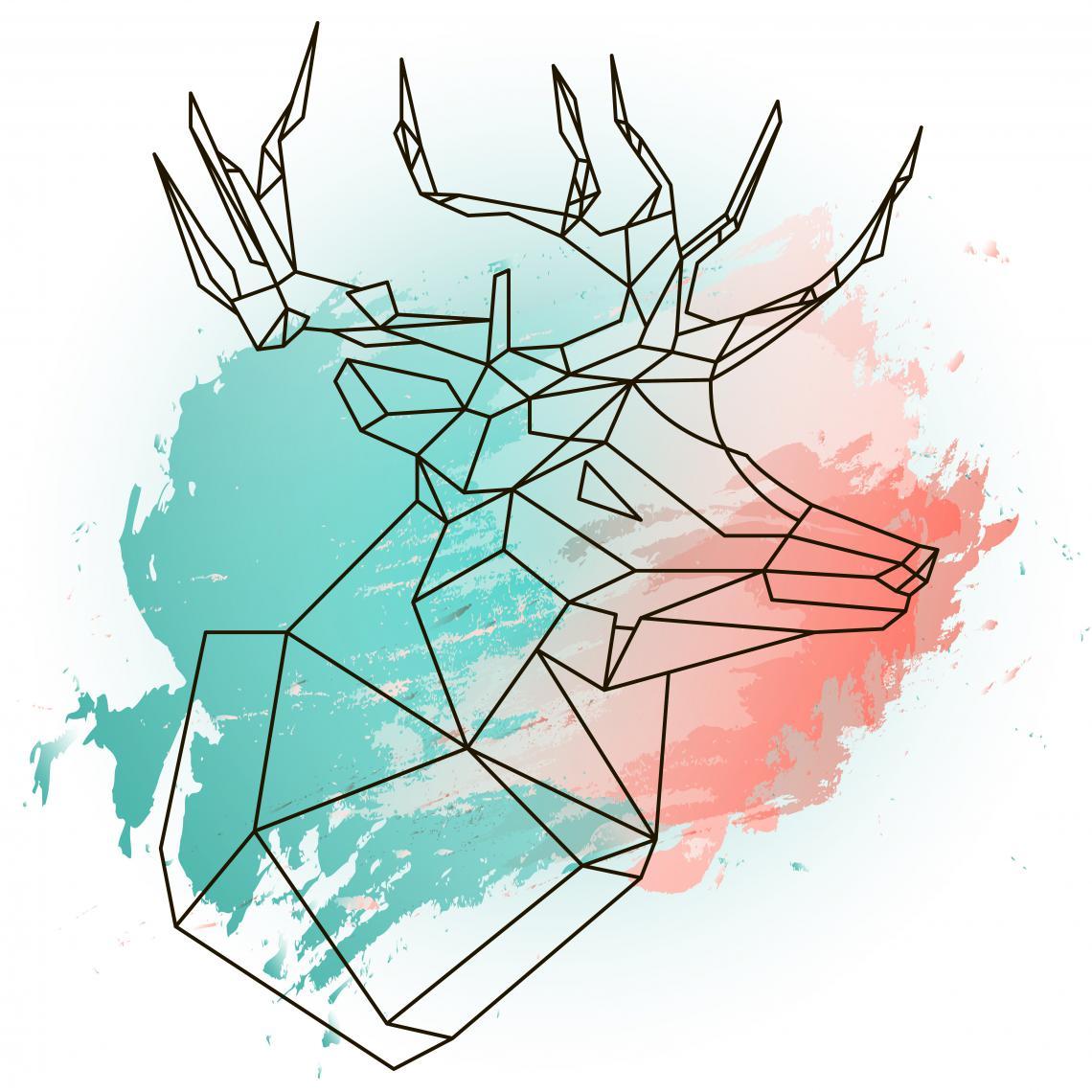 Tableau Animal Blue and Pink Deer 60x60