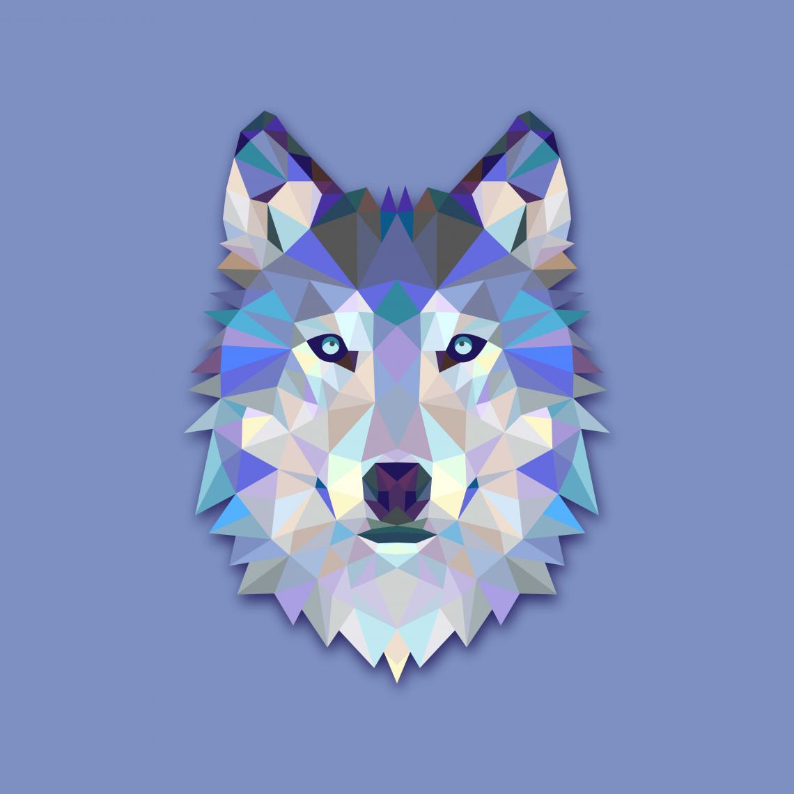 Tableau Animal Design Blue Wolf 80x80