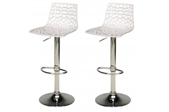 Lot de 2 Tabourets De Bar Design Blancs SPARTE - Tabouret de Bar Pas ... 0f64316d5338