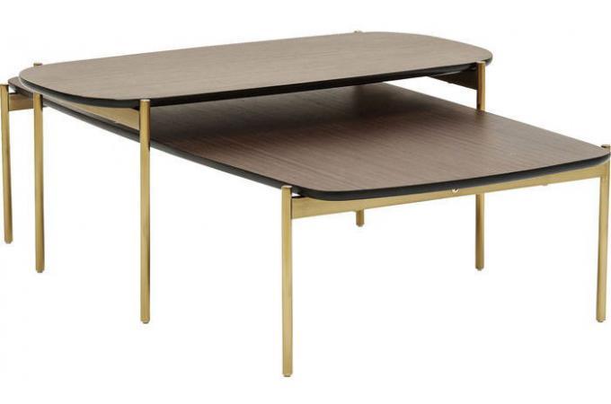 set de 2 tables gigognes kare design marron dor fool. Black Bedroom Furniture Sets. Home Design Ideas