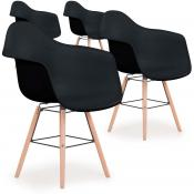 DeclikDeco - Lot De 4 Chaises Scandinaves Ralf Noir FIZZ - Chaise design et tabouret design