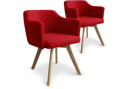Lot De 2 Fauteuils Scandinaves Rouge LAYAL