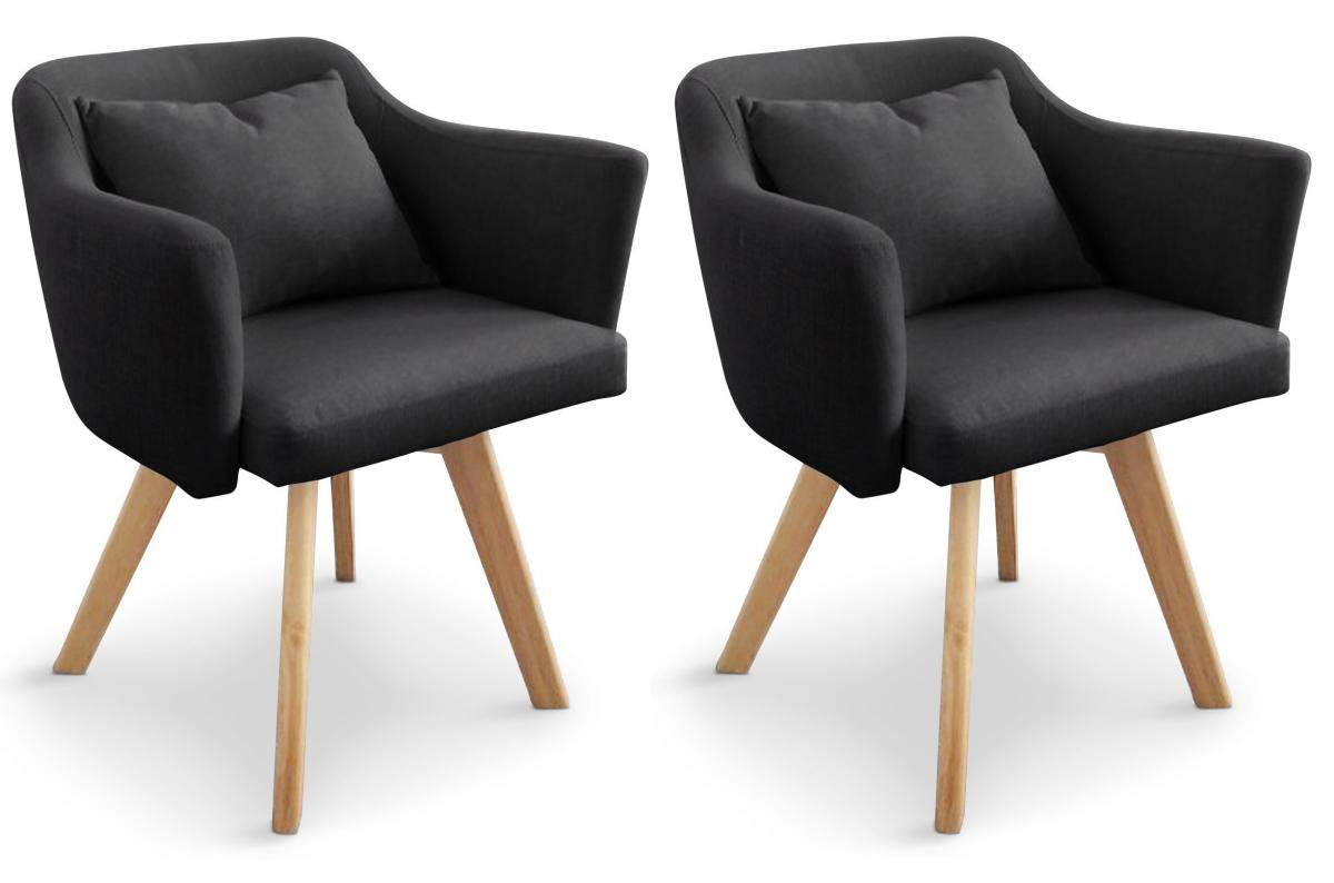 Lot de 2 Fauteuils Scandinaves Noirs LAYAL