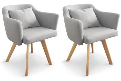 Lot de 2 Fauteuils Scandinaves Gris LAYAL