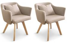 Lot de 2 Fauteuils Scandinaves Beiges LAYAL