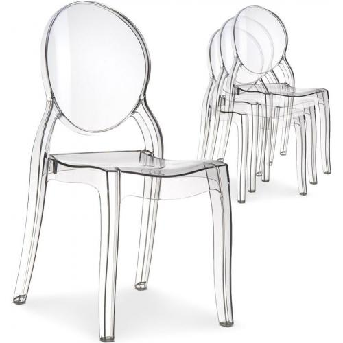 Lot de 4 chaises ELIZABETH Transparent Baroque - Lot 4 chaises design