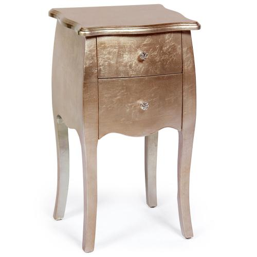 Table de Chevet Bois Laqué Or Rose GETAFE - Table de chevet design