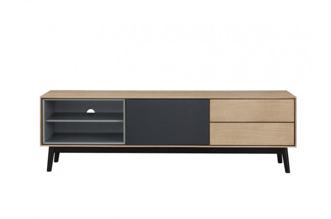 meuble tv bois noir 2 niches 1 porte 2 tiroirs hourn meuble tv pas cher. Black Bedroom Furniture Sets. Home Design Ideas