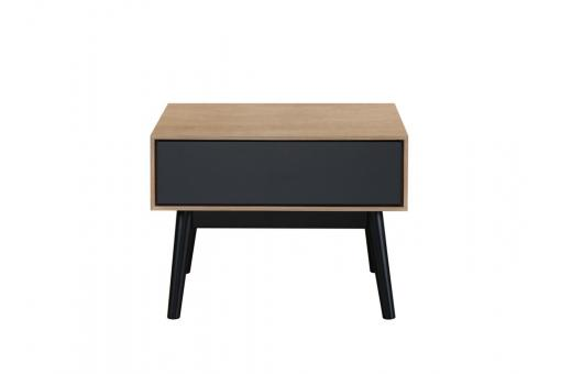 Table d\'appoint Bois Noir 1 tiroir HOURN - Salon scandinave