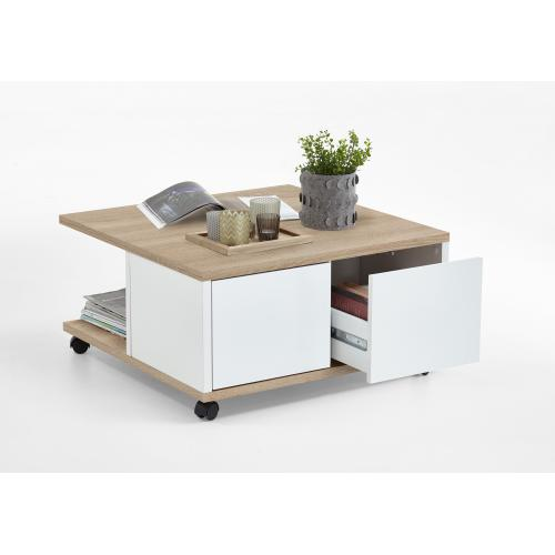Table Basse A Roulettes Marron Bois Blanc Brillant GROOVE