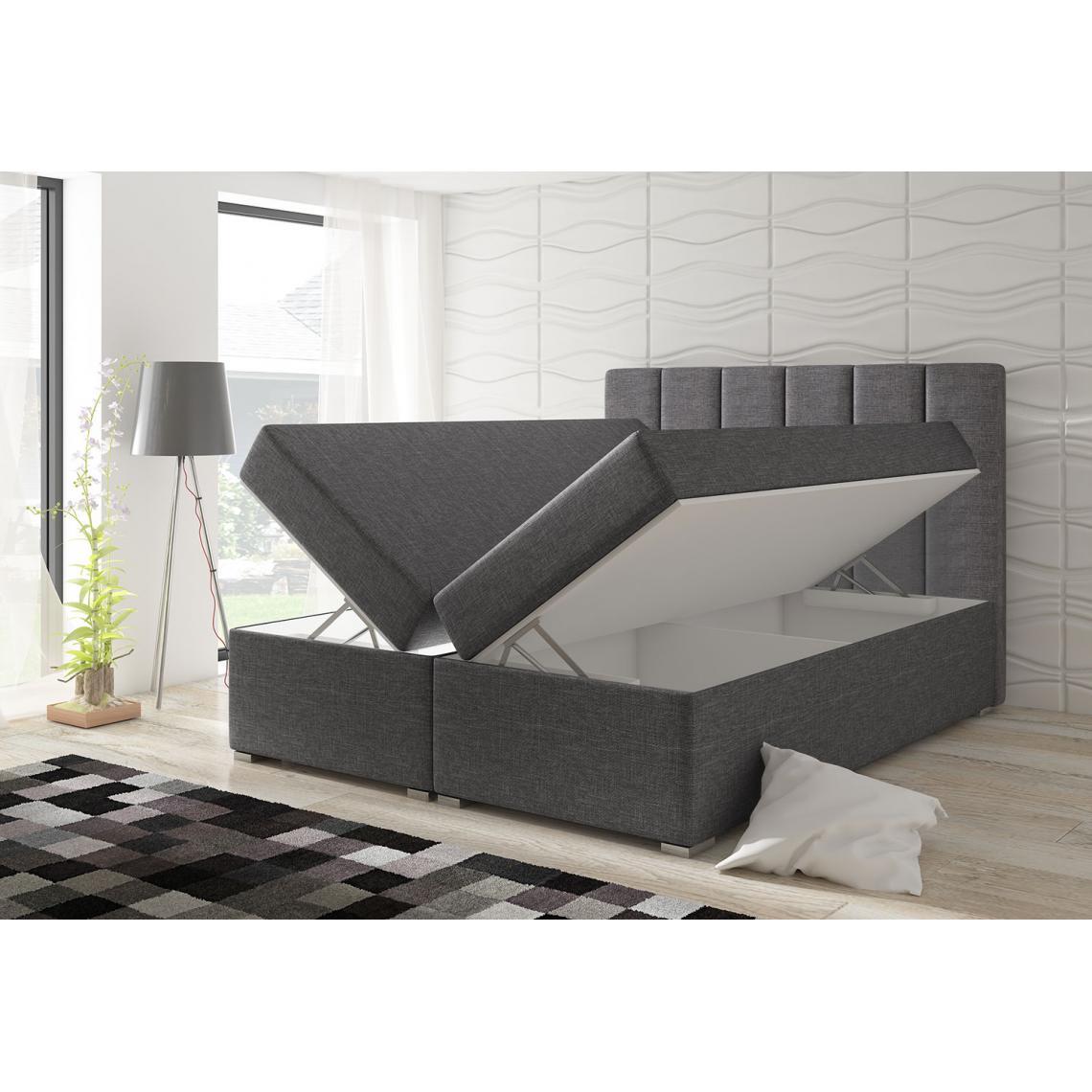 lit coffre 160cm tissu gris arapahos