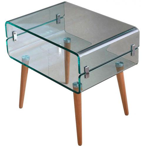 Table de Chevet Verre Bois FIRNA - Table de chevet design