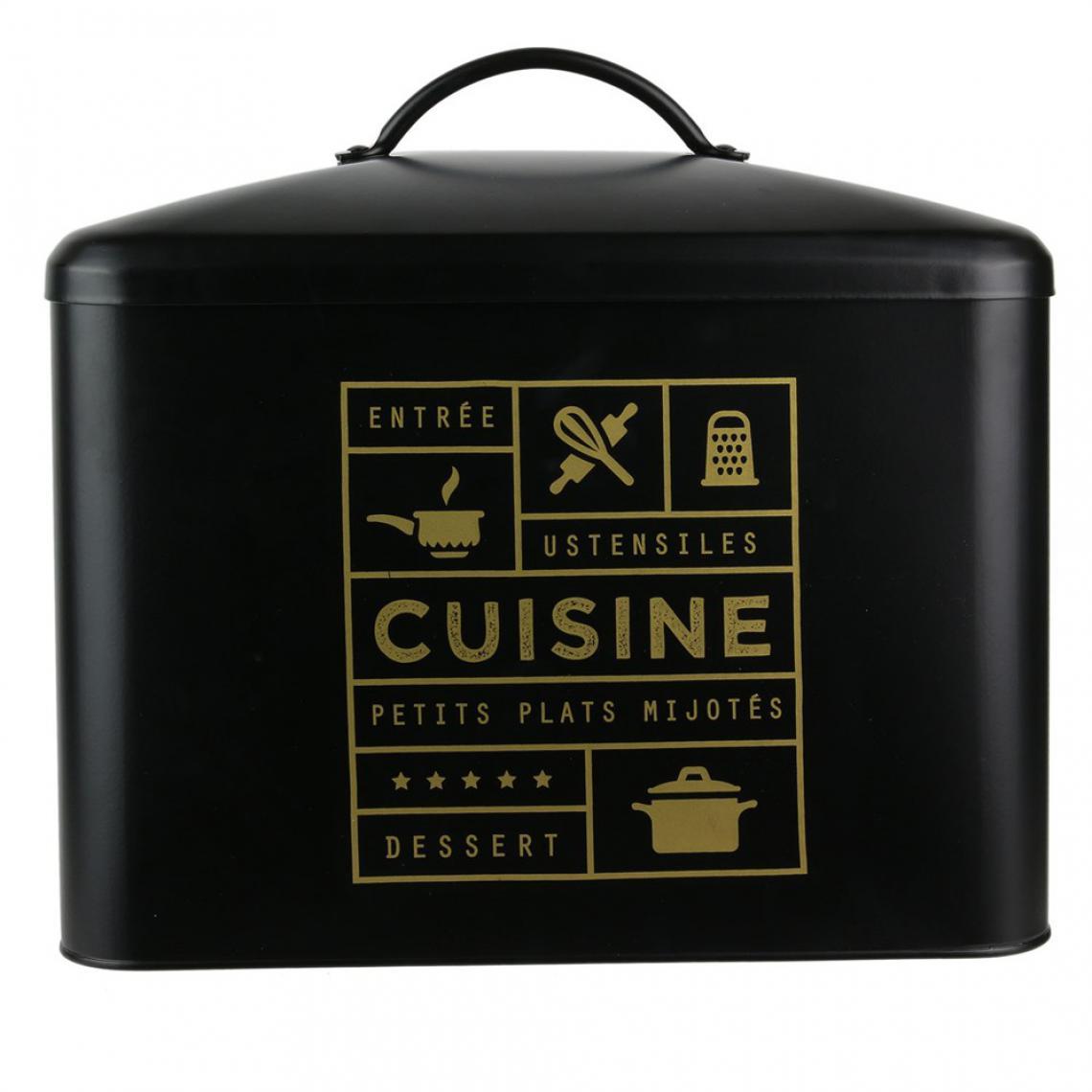 Boite De Rangement Metal Noir Canala Accessoires Cuisine Saliere Gant Pas Cher