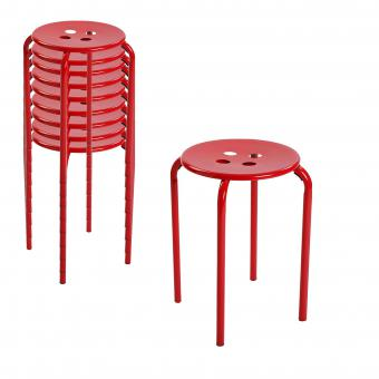 Lot de 10 Tabourets Rouge ALBERTA