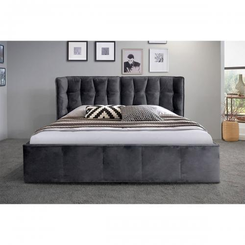 Lit coffre 140x190cm Velours Gris anthracite QUEEN - Edition contemporain chambre lit